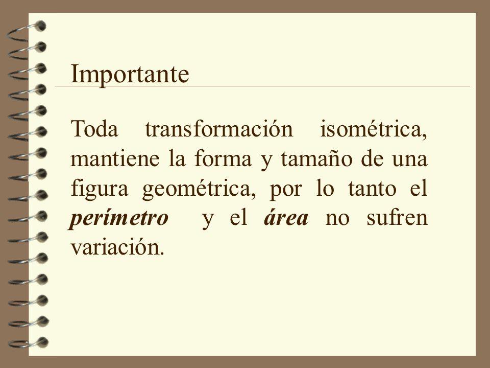 Importante Toda transformación isométrica, mantiene la forma y tamaño de una figura geométrica, por lo tanto el perímetro y el área no sufren variación.