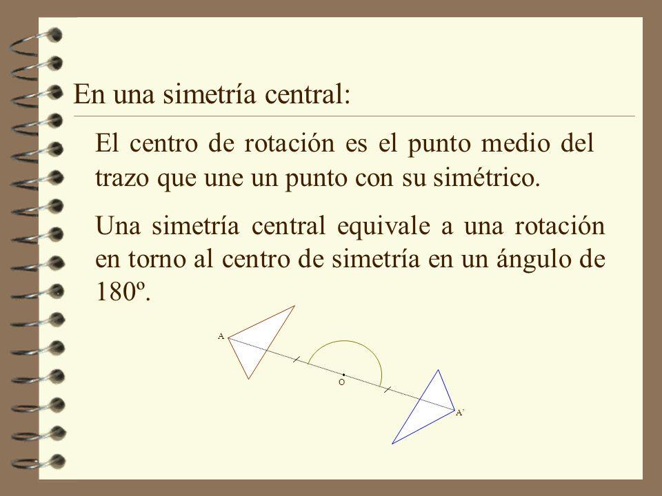 En una simetría central: El centro de rotación es el punto medio del trazo que une un punto con su simétrico. Una simetría central equivale a una rota