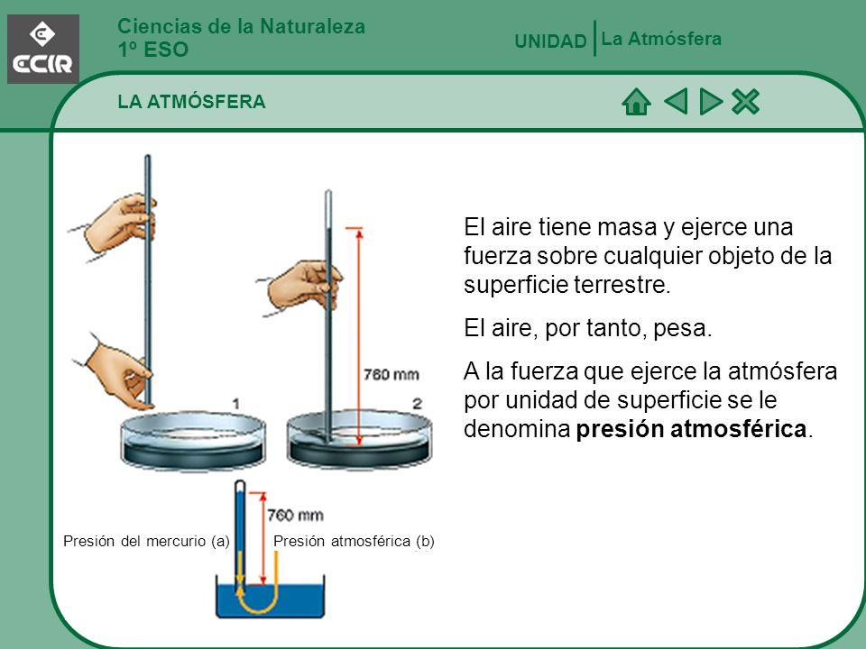 Ciencias de la Naturaleza 1º ESO LA ATMÓSFERA La Atmósfera UNIDAD El aire tiene masa y ejerce una fuerza sobre cualquier objeto de la superficie terre