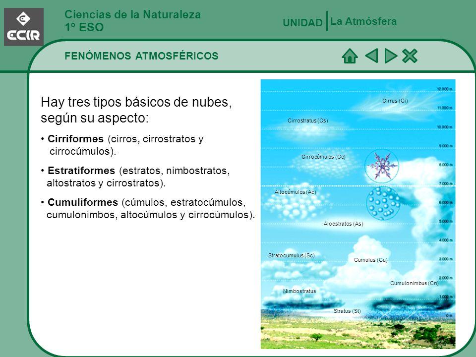 Ciencias de la Naturaleza 1º ESO FENÓMENOS ATMOSFÉRICOS La Atmósfera UNIDAD Hay tres tipos básicos de nubes, según su aspecto: Cirriformes (cirros, ci