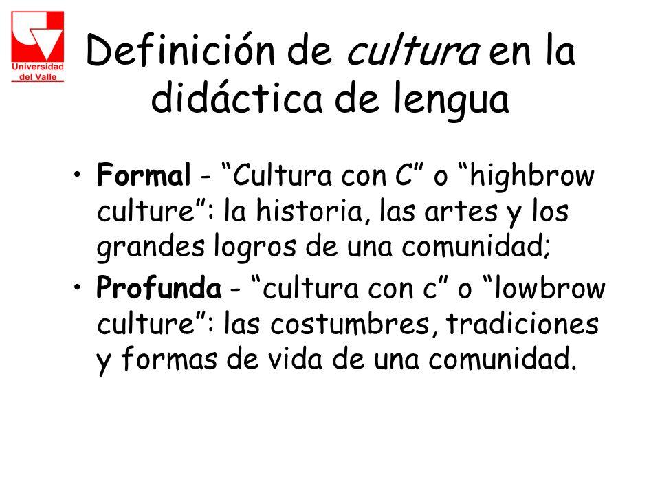 Definición de cultura en la didáctica de lengua Formal - Cultura con C o highbrow culture: la historia, las artes y los grandes logros de una comunidad; Profunda - cultura con c o lowbrow culture: las costumbres, tradiciones y formas de vida de una comunidad.