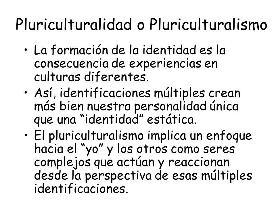 Pluriculturalidad o Pluriculturalismo La formación de la identidad es la consecuencia de experiencias en culturas diferentes.