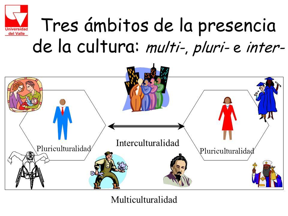 Tres ámbitos de la presencia de la cultura: multi-, pluri- e inter- Interculturalidad Pluriculturalidad Multiculturalidad
