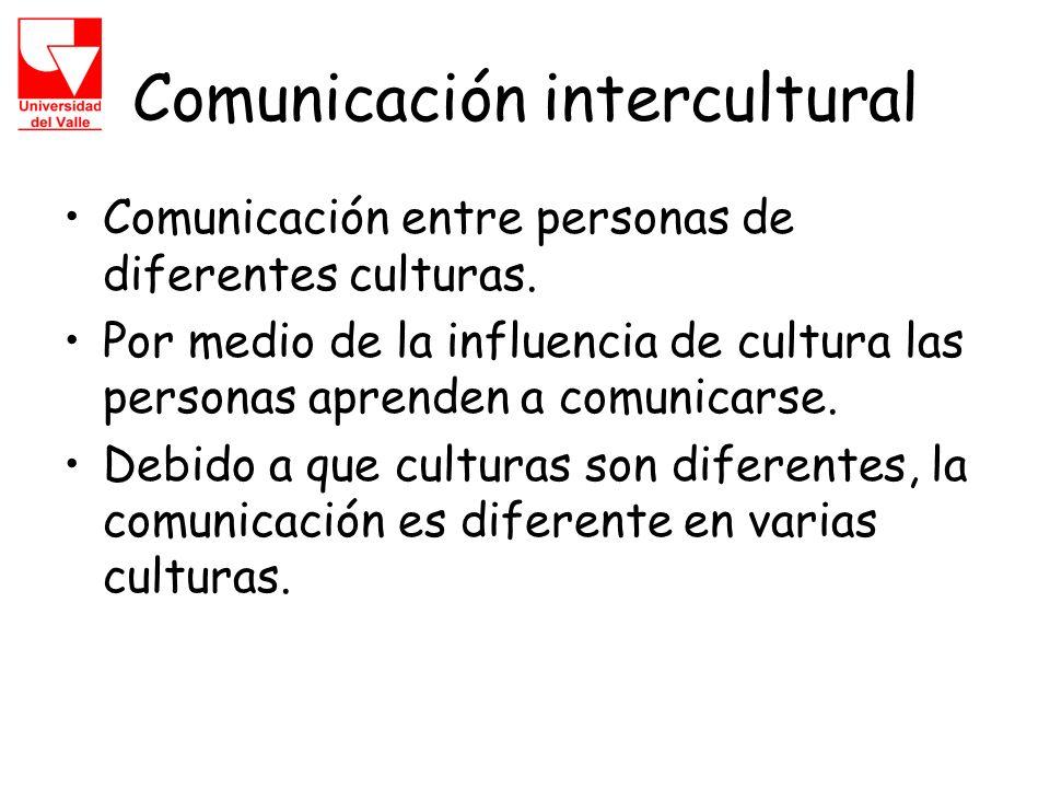 Comunicación intercultural Comunicación entre personas de diferentes culturas.