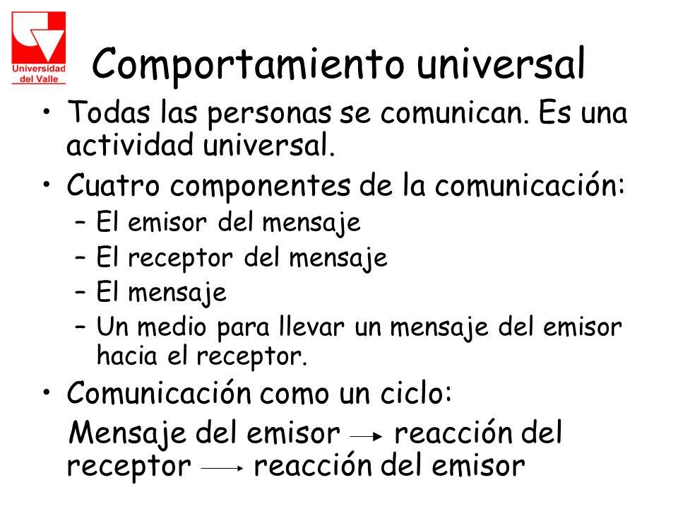Comportamiento universal Todas las personas se comunican.