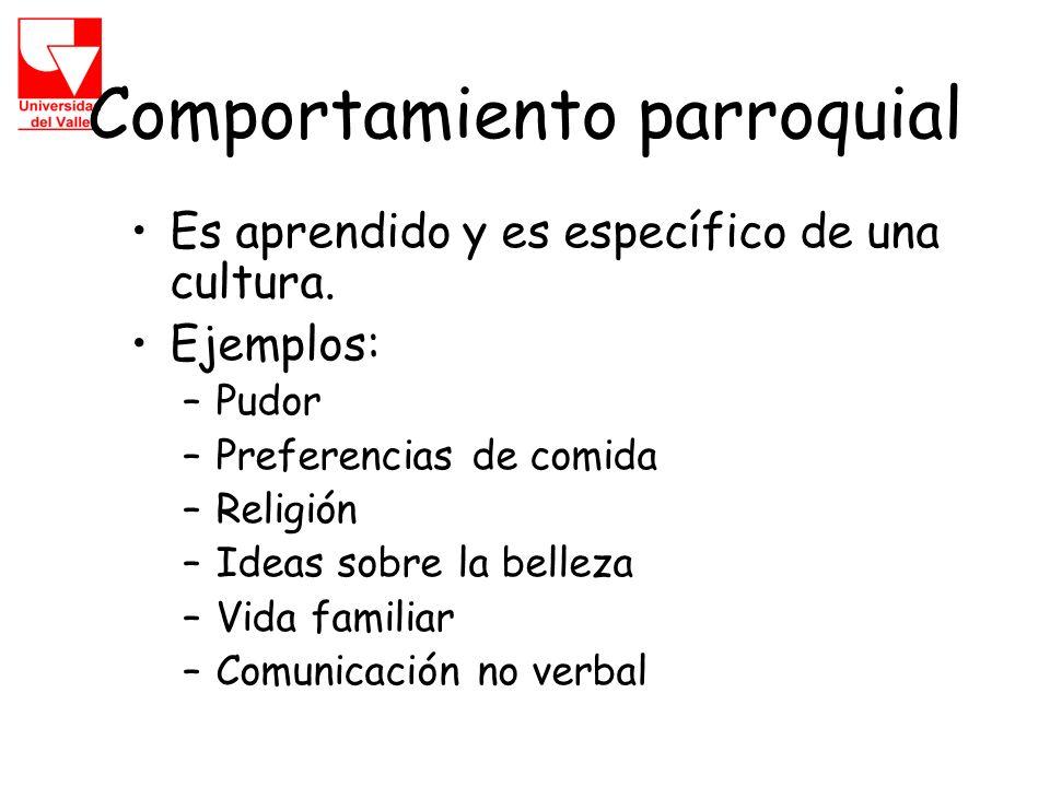 Comportamiento parroquial Es aprendido y es específico de una cultura.