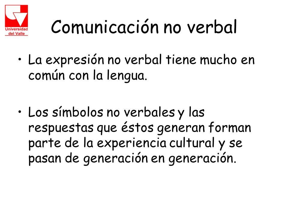 Comunicación no verbal La expresión no verbal tiene mucho en común con la lengua.