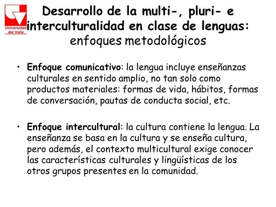 Desarrollo de la multi-, pluri- e interculturalidad en clase de lenguas: enfoques metodológicos Enfoque comunicativo: la lengua incluye enseñanzas culturales en sentido amplio, no tan solo como productos materiales: formas de vida, hábitos, formas de conversación, pautas de conducta social, etc.
