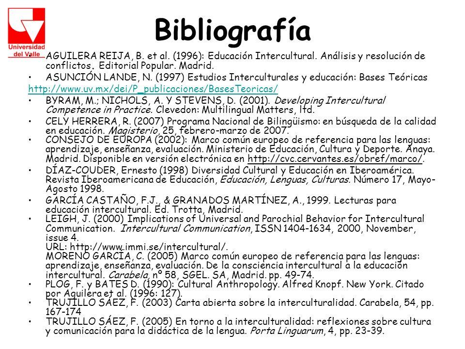 Bibliografía AGUILERA REIJA, B.et al. (1996): Educación Intercultural.
