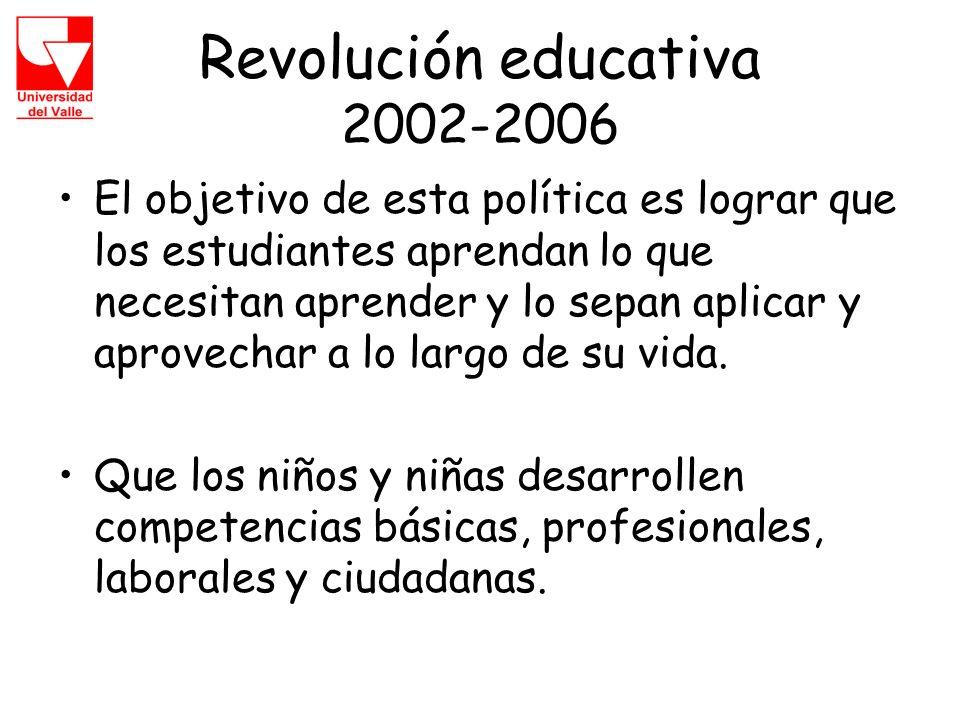 Revolución educativa 2002-2006 El objetivo de esta política es lograr que los estudiantes aprendan lo que necesitan aprender y lo sepan aplicar y aprovechar a lo largo de su vida.