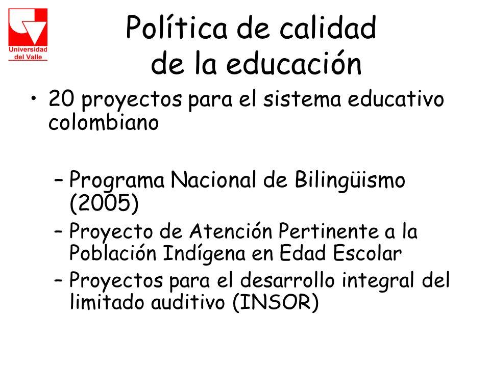 Política de calidad de la educación 20 proyectos para el sistema educativo colombiano –Programa Nacional de Bilingüismo (2005) –Proyecto de Atención Pertinente a la Población Indígena en Edad Escolar –Proyectos para el desarrollo integral del limitado auditivo (INSOR)