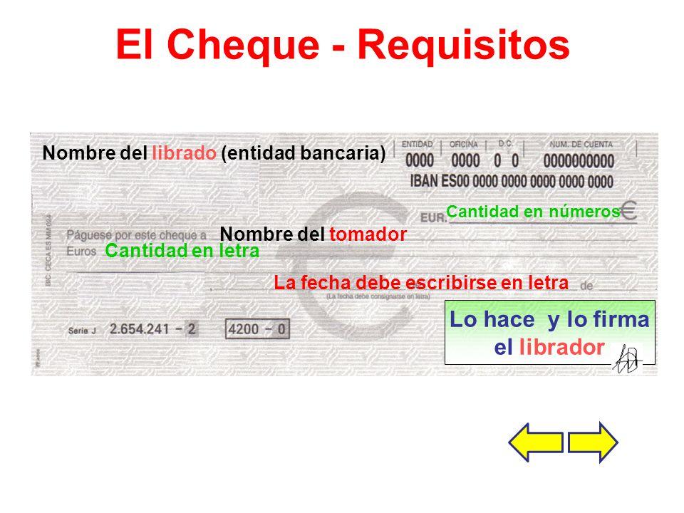 El Cheque - Requisitos Nombre del librado (entidad bancaria) Nombre del tomador La fecha debe escribirse en letra Cantidad en números Cantidad en letra Lo hace y lo firma el librador