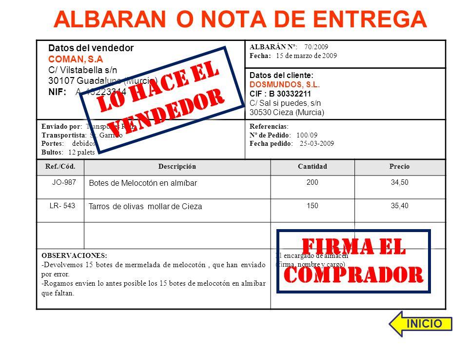 ALBARAN O NOTA DE ENTREGA RECIBÍ: Conforme Datos del vendedor COMAN, S.A C/ Vilstabella s/n 30107 Guadalupe (Murcia) NIF: A-43223344 ALBARÁN Nº: 70/20