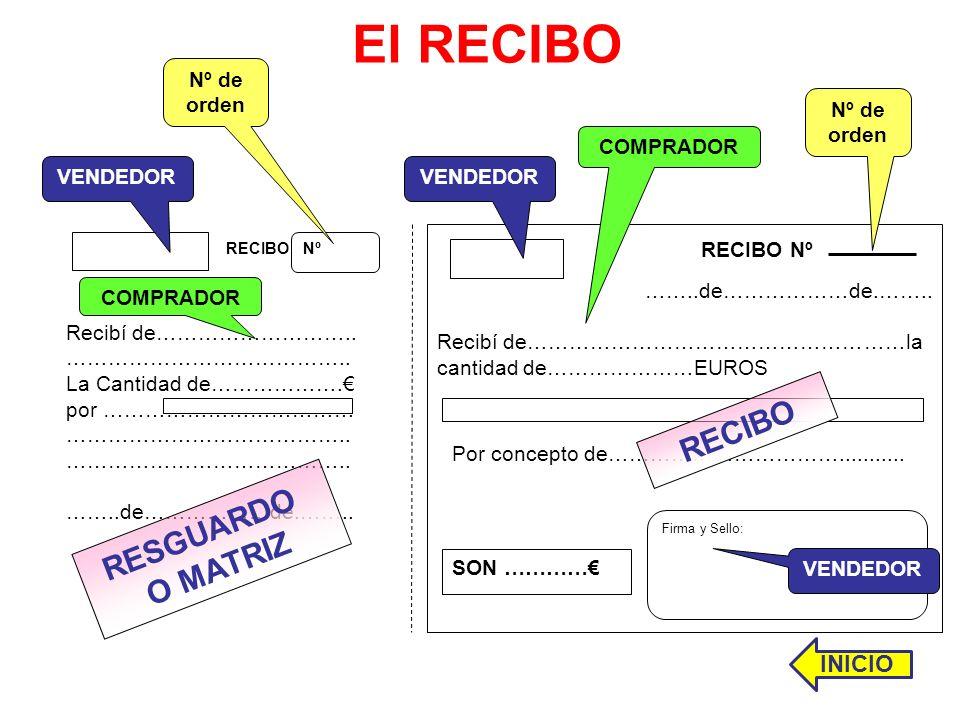 El RECIBO ……..de………………de.…….. Recibí de………………………………………………la cantidad de…………………EUROS Firma y Sello: RECIBO Nº Recibí de……………………….. ………………………………….. La C