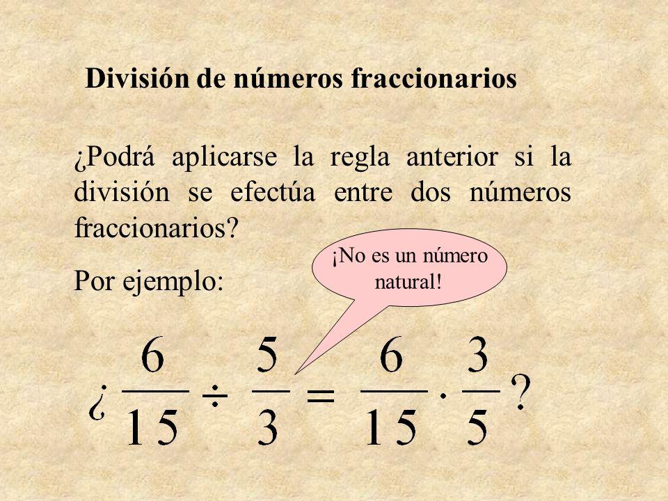 ¿Podrá aplicarse la regla anterior si la división se efectúa entre dos números fraccionarios? Por ejemplo: División de números fraccionarios ¡No es un