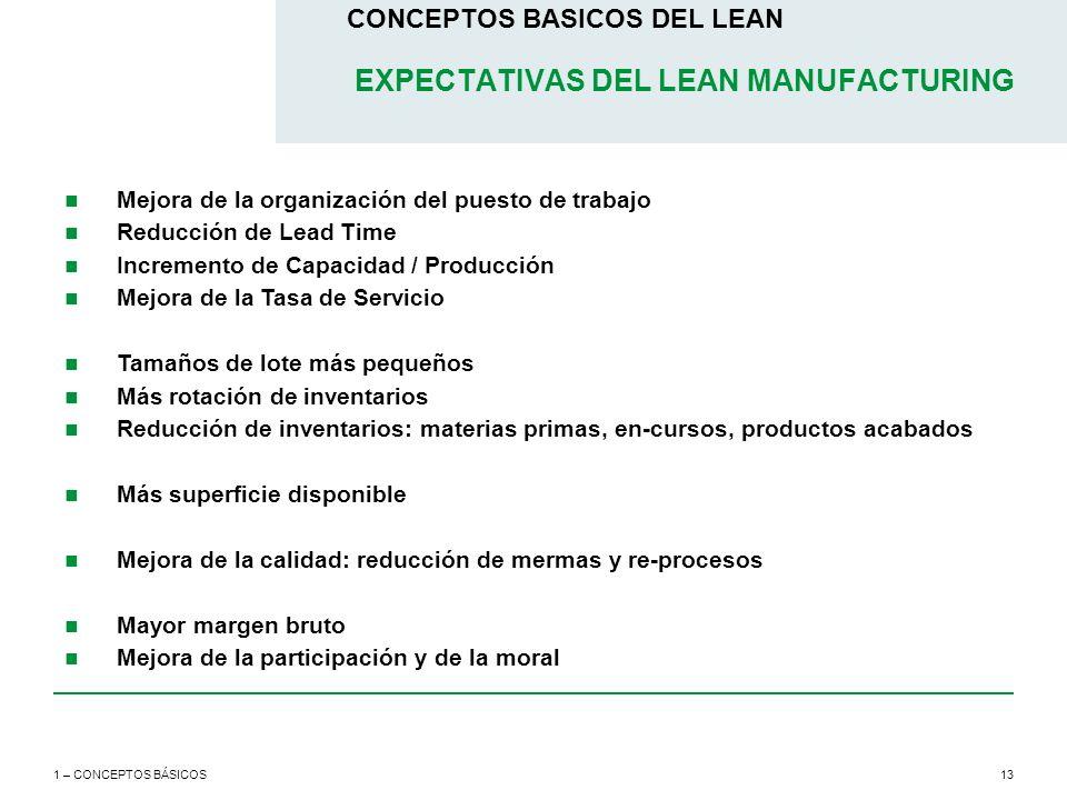 13 CONCEPTOS BASICOS DEL LEAN 1 – CONCEPTOS BÁSICOS EXPECTATIVAS DEL LEAN MANUFACTURING Mejora de la organización del puesto de trabajo Reducción de L