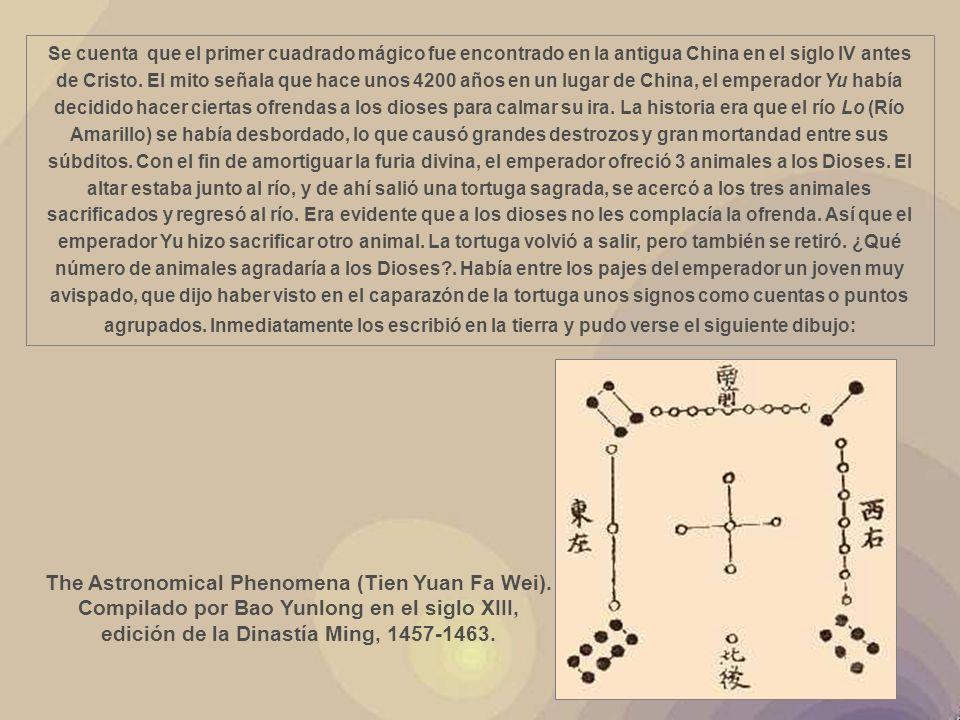 La introducción de los cuadrados mágicos en occidente se atribuye a Emanuel Moschopoulos en torno al siglo XIV, autor de un manuscrito en el que por vez primera se explican algunos métodos para construirlos.