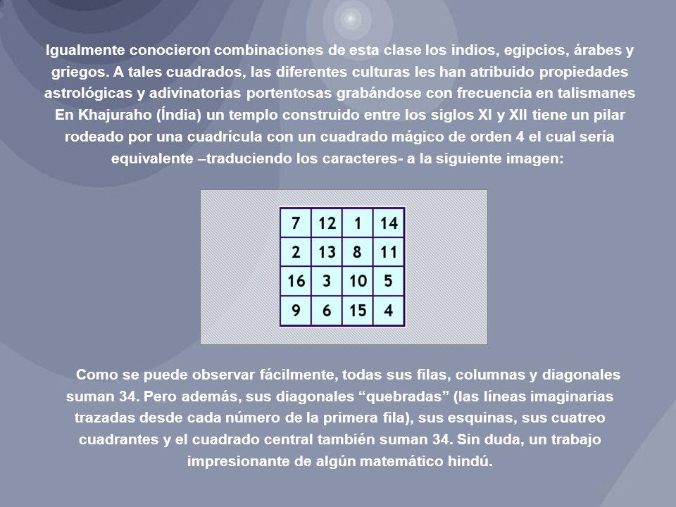Los matemáticos árabes descubrieron los cuadrados mágicos por contacto con esta tradición hindú y también se sintieron fascinados por sus características y, probablemente los difundieron por Occidente durante la Edad Media.