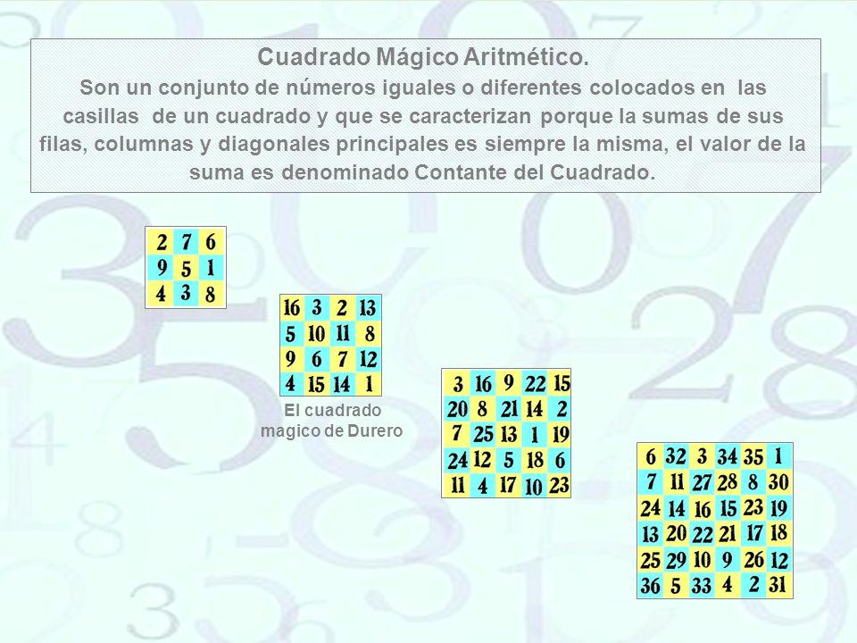 Los Cuadrados Mágicos de Agripa Enrique Cornelio Agrippa (1486-1535) fue un mago alemán, en su obra De oculta Philosophia, dividida en tres libros: Magia Natural (Física), Magia Celeste (Matemáticas) y Magia Ceremonial (Teología) involucró los siete planetas conocidos con siete cuadrados mágicos, describiendo las virtudes mágicas de los siete cuadrados mágicos de órdenes 3 a 9 asociado a cada uno de los planetas astrológicos.