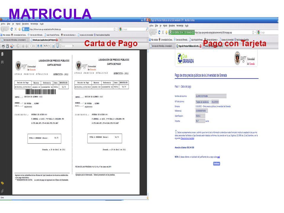 Carta de PagoPago con Tarjeta MATRICULA