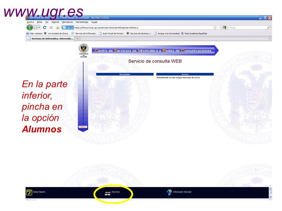 En la parte inferior, pincha en la opción Alumnos www.ugr.es
