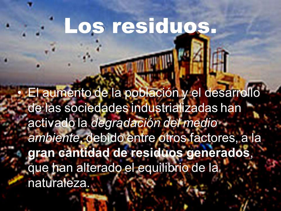 No hace muchos años, los problemas ambientales derivados de la generación de residuos no eran muy importantes, debido a que se reutilizaban gran parte de los mismos, sin llegar a modificar el equilibrio de la naturaleza.