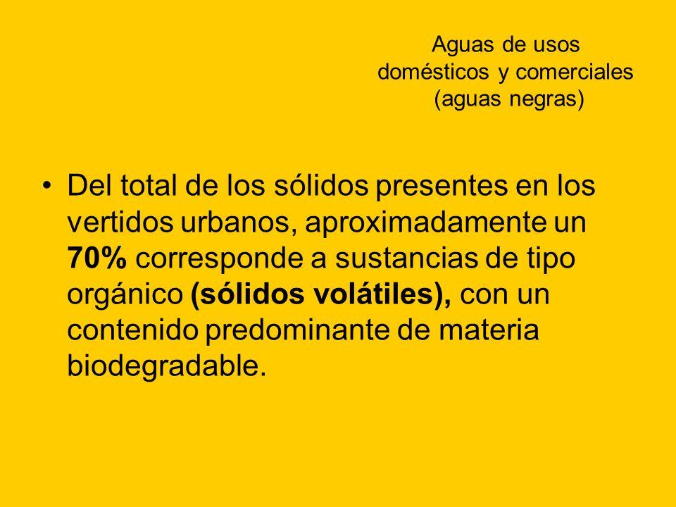 Aguas de usos domésticos y comerciales (aguas negras) Del total de los sólidos presentes en los vertidos urbanos, aproximadamente un 70% corresponde a
