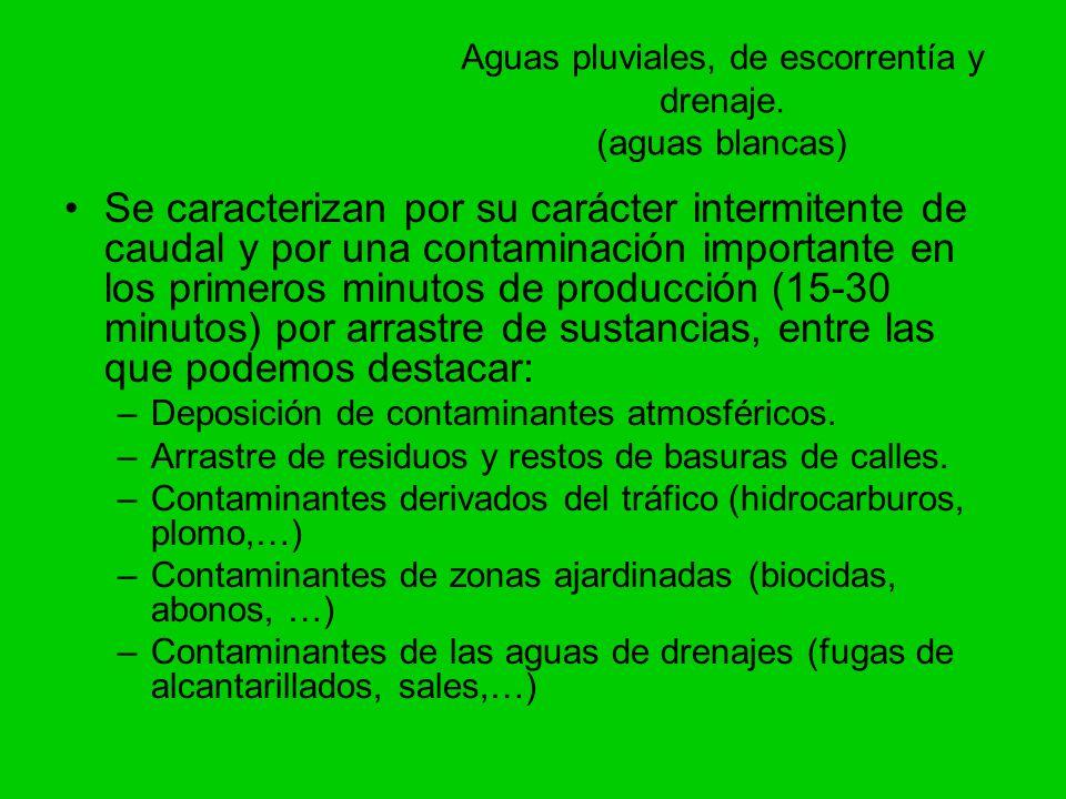 Aguas pluviales, de escorrentía y drenaje. (aguas blancas) Se caracterizan por su carácter intermitente de caudal y por una contaminación importante e