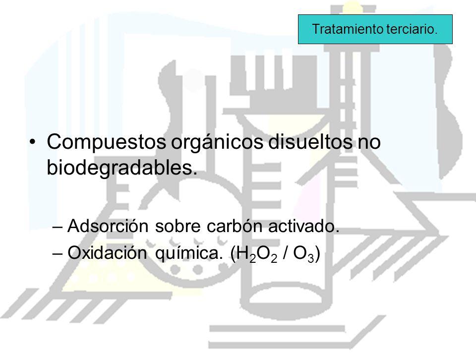 Compuestos orgánicos disueltos no biodegradables. –Adsorción sobre carbón activado. –Oxidación química. (H 2 O 2 / O 3 ) Tratamiento terciario.