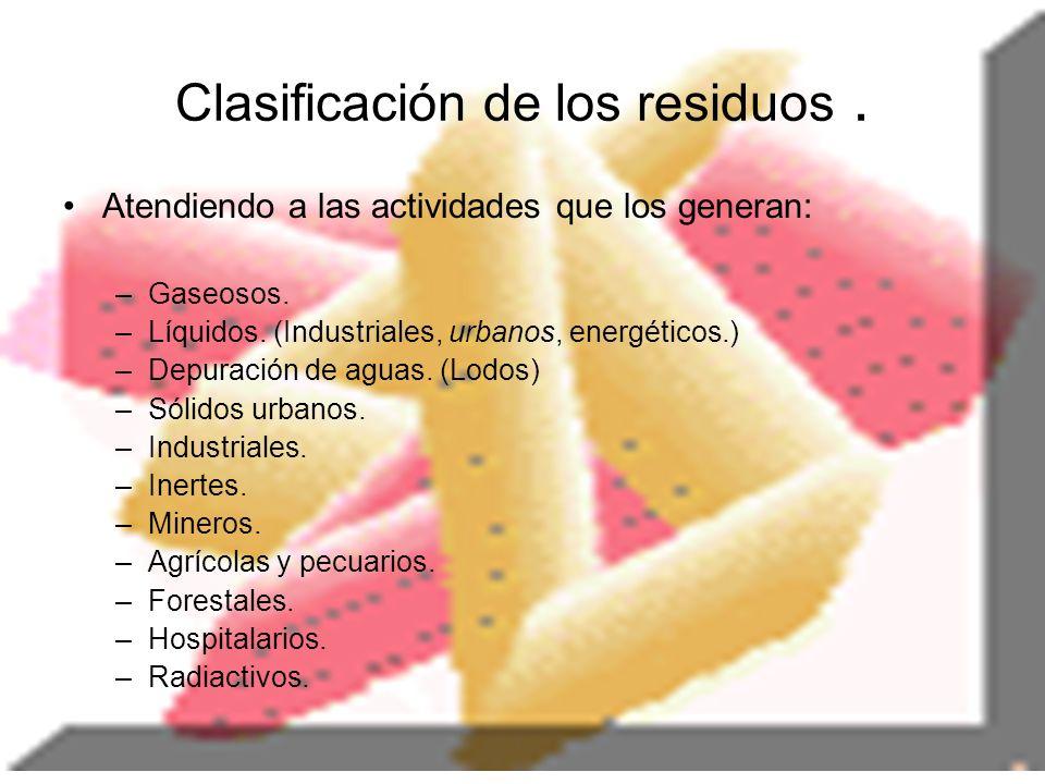 Clasificación de los residuos. Atendiendo a las actividades que los generan: –Gaseosos. –Líquidos. (Industriales, urbanos, energéticos.) –Depuración d