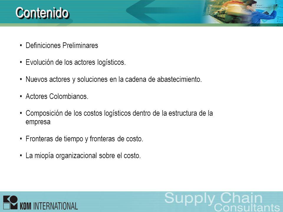 ContenidoContenido Definiciones Preliminares Evolución de los actores logísticos. Nuevos actores y soluciones en la cadena de abastecimiento. Actores