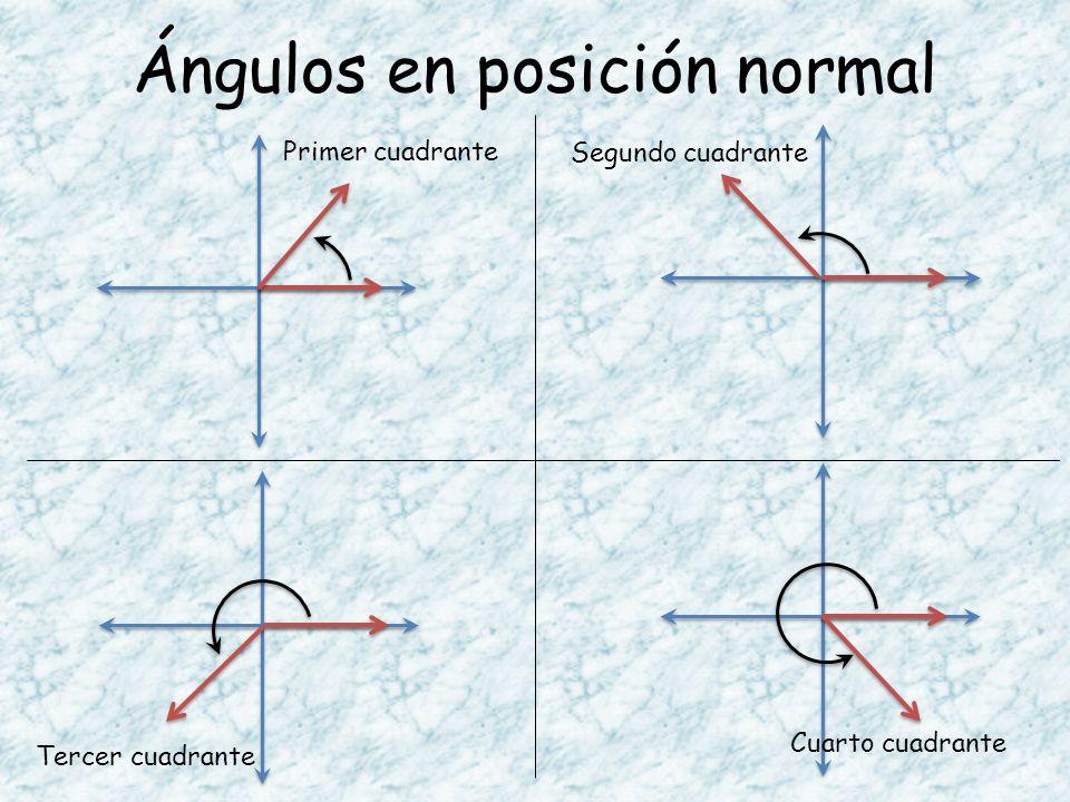Ángulos en posición normal Primer cuadrante Segundo cuadrante Tercer cuadrante Cuarto cuadrante