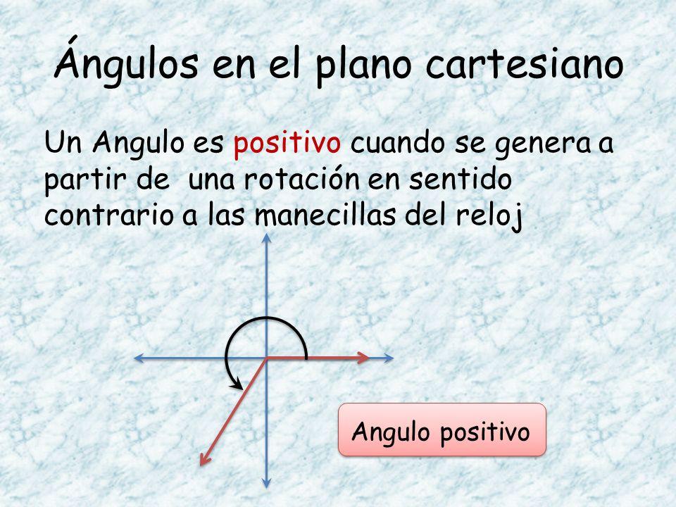 Ángulos en el plano cartesiano Un Angulo es positivo cuando se genera a partir de una rotación en sentido contrario a las manecillas del reloj Angulo
