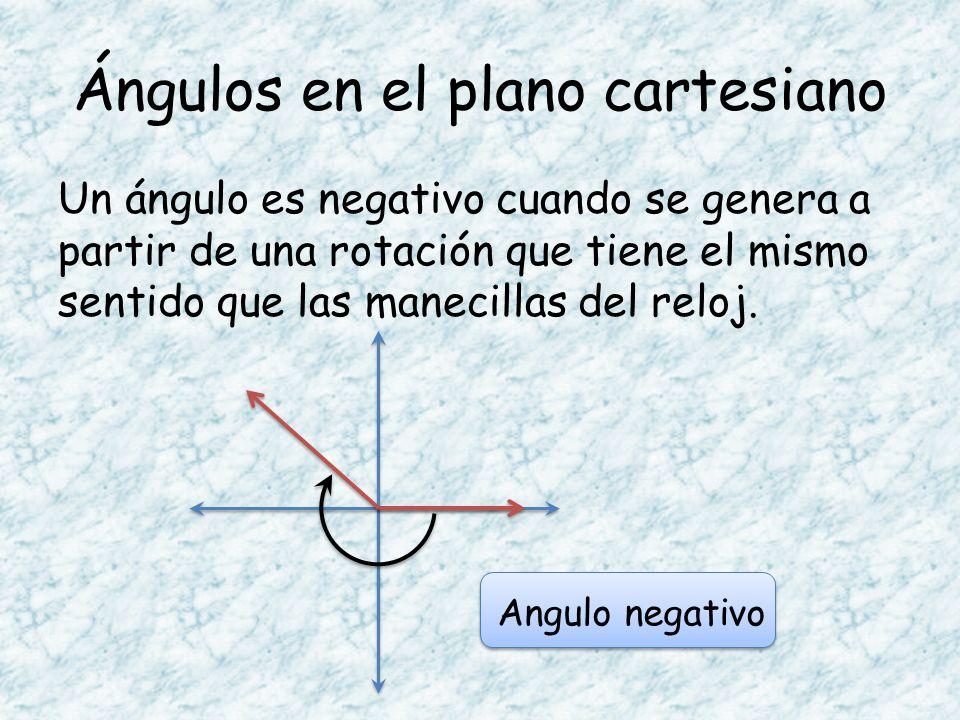 Ángulos en el plano cartesiano Un ángulo es negativo cuando se genera a partir de una rotación que tiene el mismo sentido que las manecillas del reloj