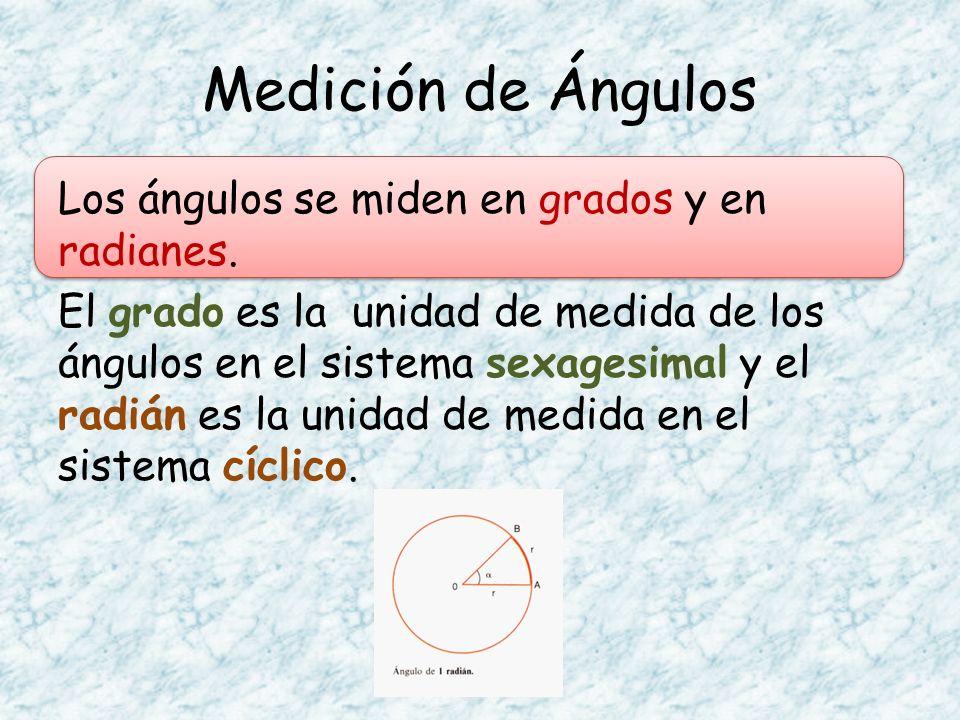 Los ángulos se miden en grados y en radianes. El grado es la unidad de medida de los ángulos en el sistema sexagesimal y el radián es la unidad de med