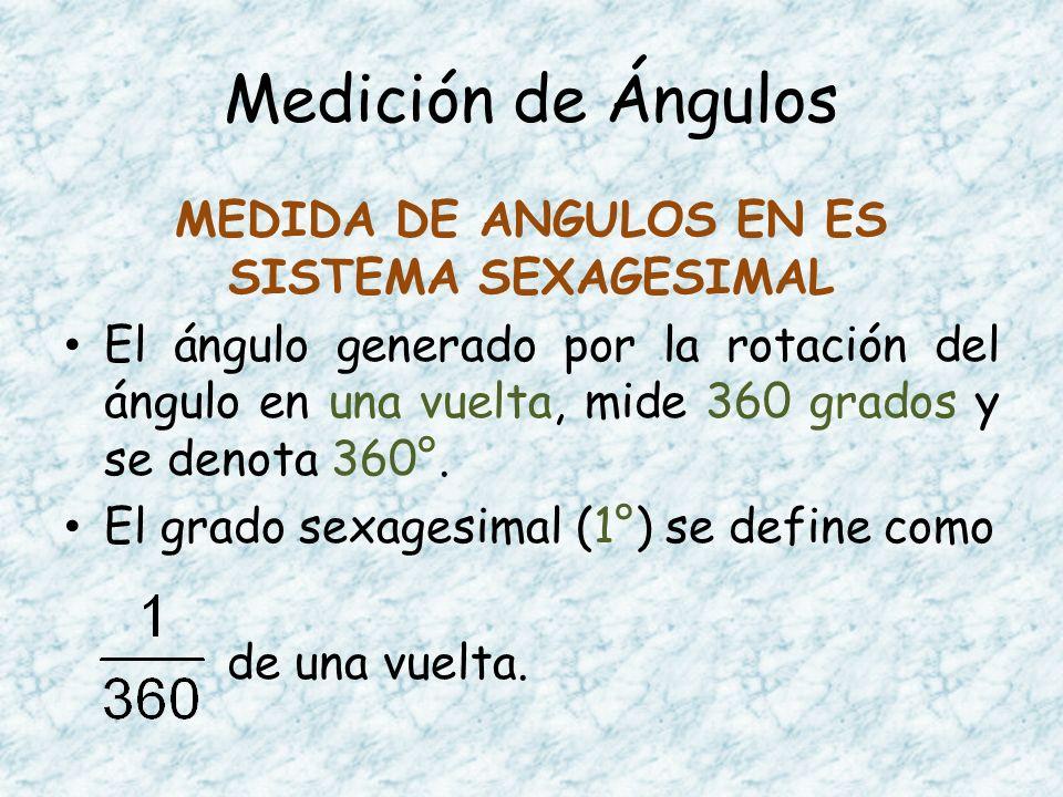 Medición de Ángulos MEDIDA DE ANGULOS EN ES SISTEMA SEXAGESIMAL El ángulo generado por la rotación del ángulo en una vuelta, mide 360 grados y se deno