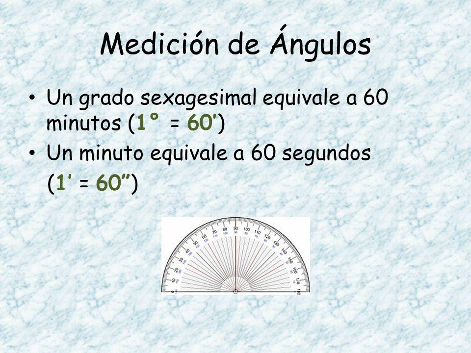 Medición de Ángulos Un grado sexagesimal equivale a 60 minutos (1° = 60) Un minuto equivale a 60 segundos (1 = 60)