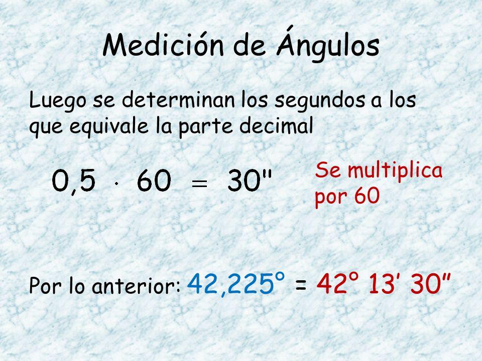 Medición de Ángulos Luego se determinan los segundos a los que equivale la parte decimal Por lo anterior: 42,225° = 42° 13 30 Se multiplica por 60