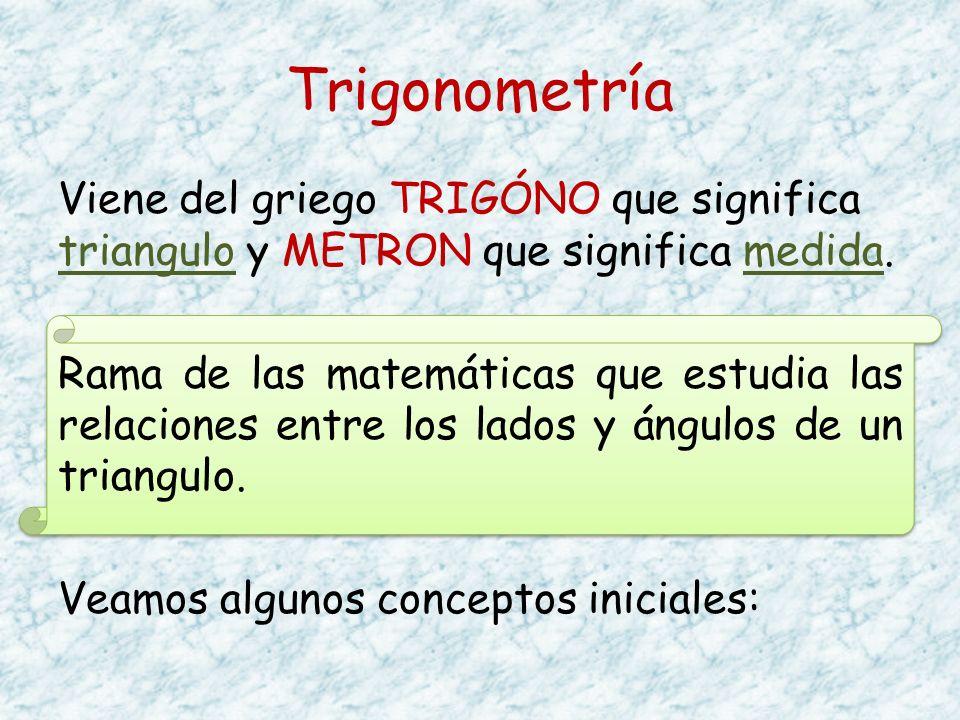 Trigonometría Viene del griego TRIGÓNO que significa triangulo y METRON que significa medida. Rama de las matemáticas que estudia las relaciones entre