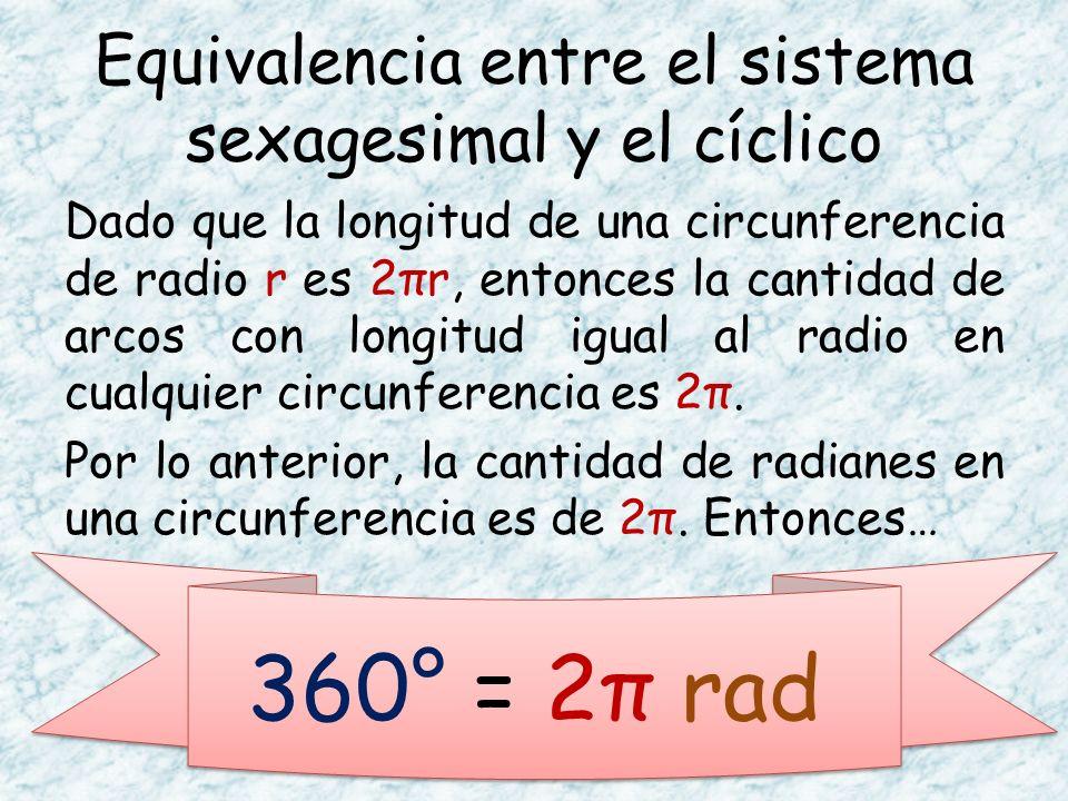 Dado que la longitud de una circunferencia de radio r es 2πr, entonces la cantidad de arcos con longitud igual al radio en cualquier circunferencia es