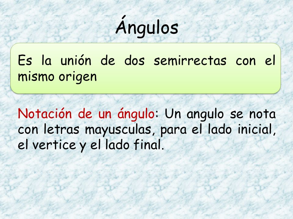 Es la unión de dos semirrectas con el mismo origen Notación de un ángulo: Un angulo se nota con letras mayusculas, para el lado inicial, el vertice y