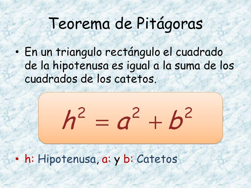 En un triangulo rectángulo el cuadrado de la hipotenusa es igual a la suma de los cuadrados de los catetos. h: Hipotenusa, a: y b: Catetos