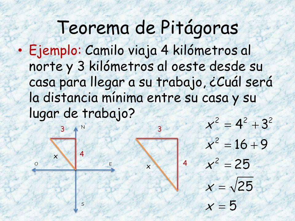 Teorema de Pitágoras Ejemplo: Camilo viaja 4 kilómetros al norte y 3 kilómetros al oeste desde su casa para llegar a su trabajo, ¿Cuál será la distanc
