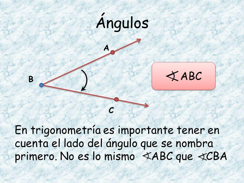 Ángulos En trigonometría es importante tener en cuenta el lado del ángulo que se nombra primero. No es lo mismo ABC que CBA A B C ABC