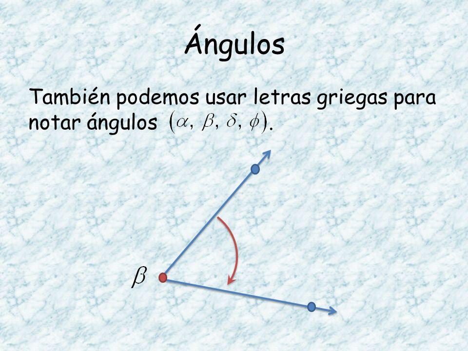 Ángulos También podemos usar letras griegas para notar ángulos.