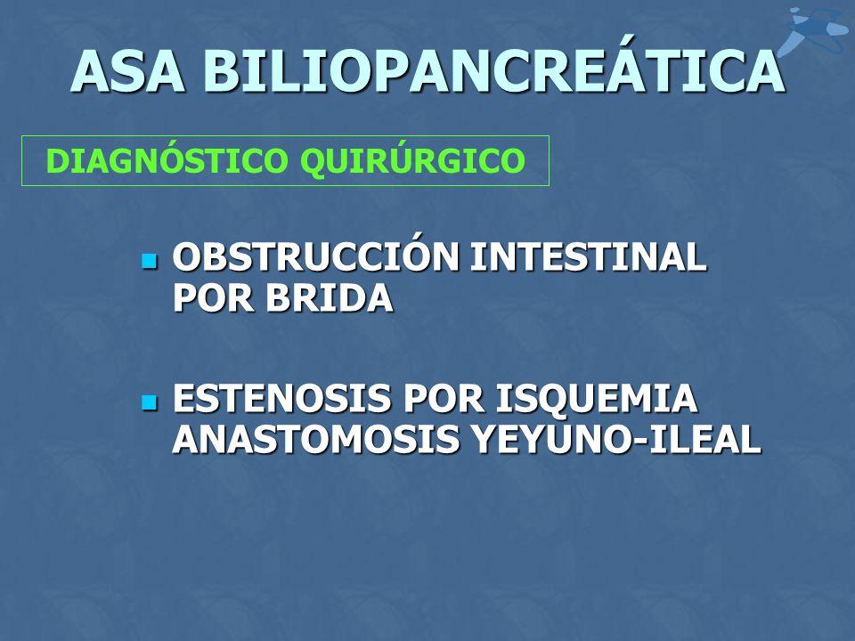 ASA BILIOPANCREÁTICA OBSTRUCCIÓN INTESTINAL POR BRIDA OBSTRUCCIÓN INTESTINAL POR BRIDA ESTENOSIS POR ISQUEMIA ANASTOMOSIS YEYUNO-ILEAL ESTENOSIS POR I