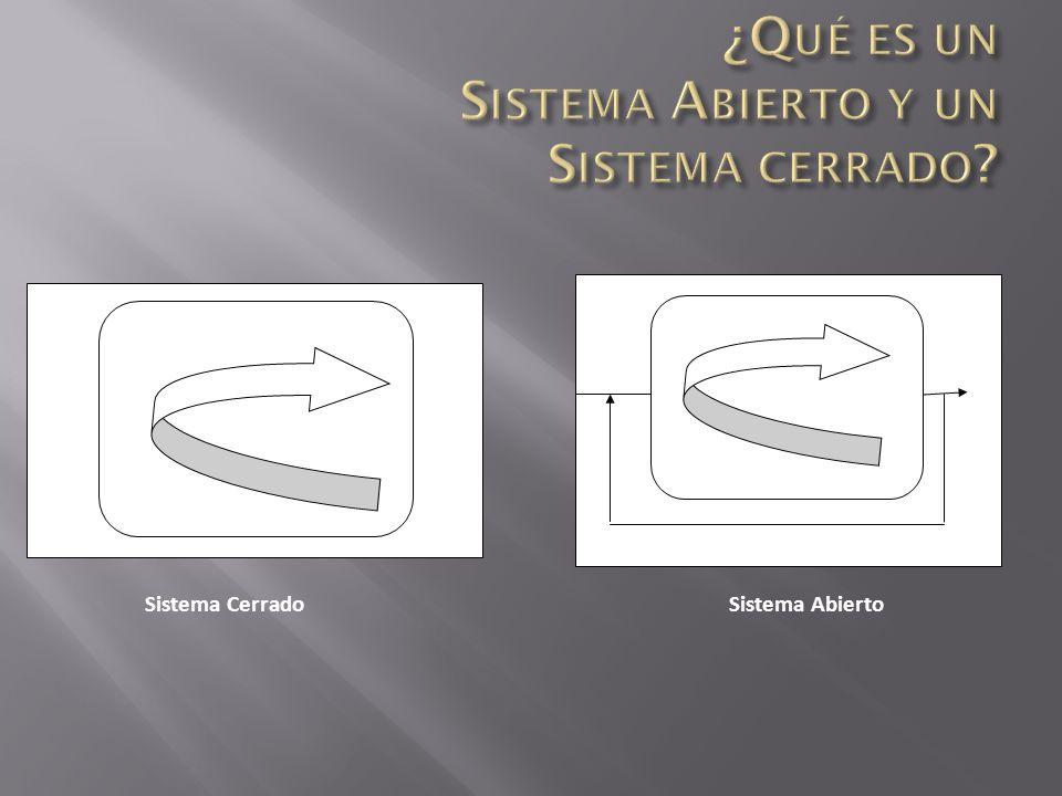 Sistema abierto; Pueden entrar en el sistema a través de sus límites, suministros adicionales de energía o recursos. Y un sistema Abierto es aquel que