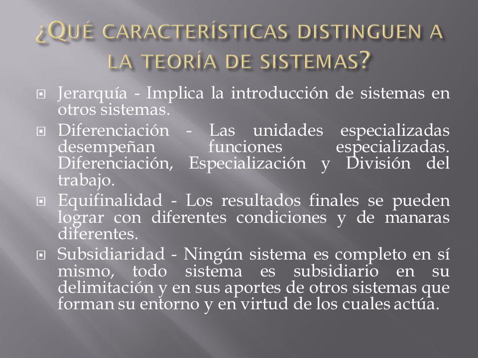 Jerarquía - Implica la introducción de sistemas en otros sistemas.