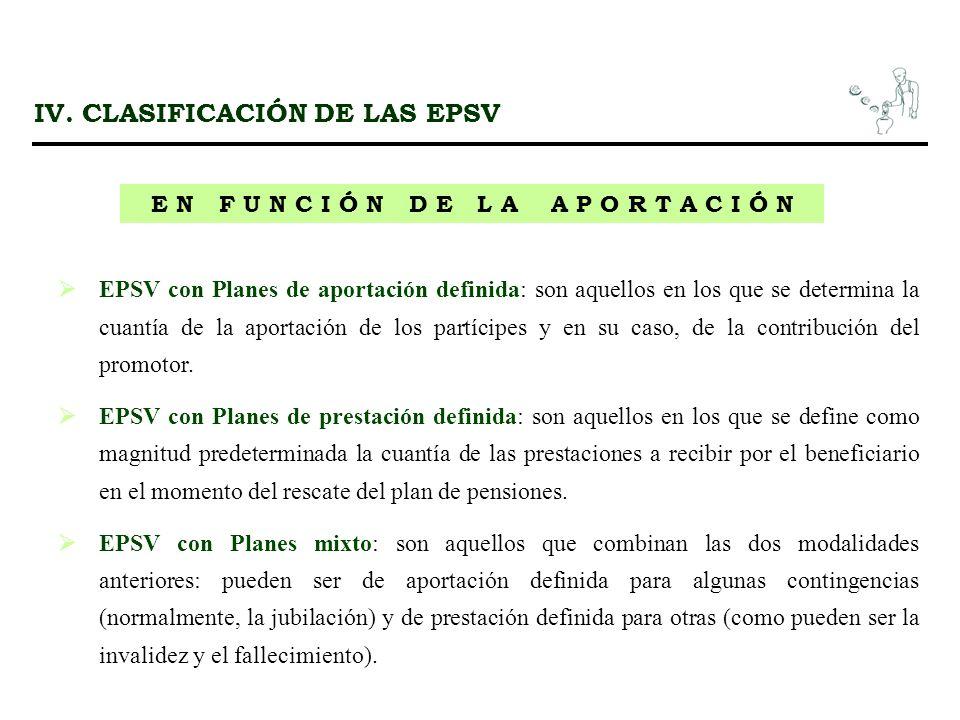 IV. CLASIFICACIÓN DE LAS EPSV E N F U N C I Ó N D E L A A P O R T A C I Ó N EPSV con Planes de aportación definida: son aquellos en los que se determi