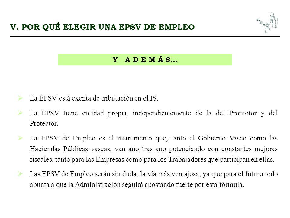 V. POR QUÉ ELEGIR UNA EPSV DE EMPLEO Y A D E M Á S... La EPSV está exenta de tributación en el IS. La EPSV tiene entidad propia, independientemente de